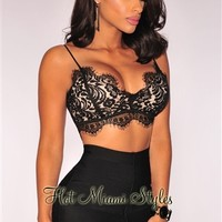 Black Lace Nude Illusion Padded Bralette Crop Top