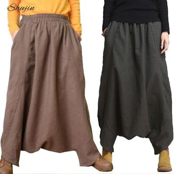 SHUJIN 2019 Harem Pants Women Spring Casual Linen Baggy Bottoms Fashion Solid Low Crotch Pants Womens Trousers Plus Size 3XL