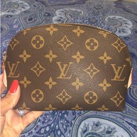 Louis Vuitton LV Women Fashion New Monogram Print Cosmetic Bag Zipper Toiletry Handbag Purse Wallet
