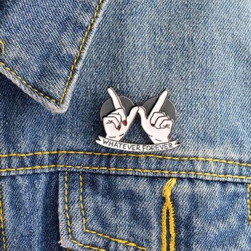 Trendy Whatever Forever Heart in Hand Brooch Best Friends Enamel Pins Buckle Denim jacket Coat Collar Pin Badge Fashion Jewelry Gift AT_94_13