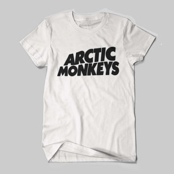 Hot Arctic Monkeys UK Band Tour Dates Logo Black and White Shirt Men or Women Shirt Unisex Size