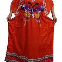 Mogul Womens Kaftan Dresses Red Butterfly Printed Beach Caftan Onesize