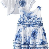 Youngland Baby Girls' Bi Color Floral Dress with Cardigan, White/Blue, 18 Months