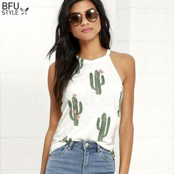 2018 Summer Cactus Print Women T Shirt Casual Halter Harajuku Women TShirt Tops Tees Female Shirts Camiseta Women Tops