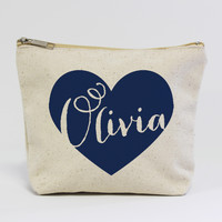 Personalized Name in Heart Makeup Bag