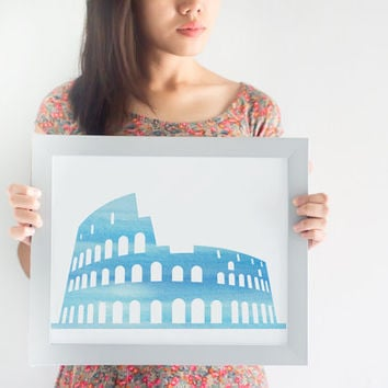 Watercolor Colosseum Printable // Printable Wall Art // History Buff Gift // Rome Decor