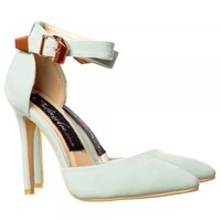 Onlineshoe Low Mid Heel Ankle Strap Pastels - Pointed Toe - Mint Green, Fuchsia Pink, Black, Coral, Nude, White - Onlineshoe from Onlineshoe UK