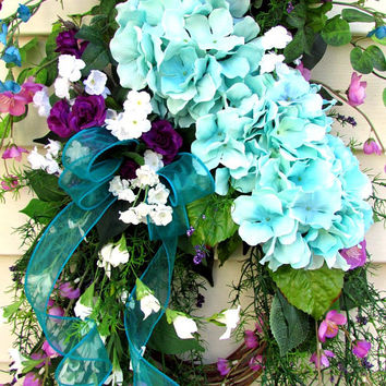Door Swag, Spring Wreaths For Front Door, Summer Door Wreath, Spring Door Wreath, Spring Door Swag, door swags Summer, door swag hydrangea