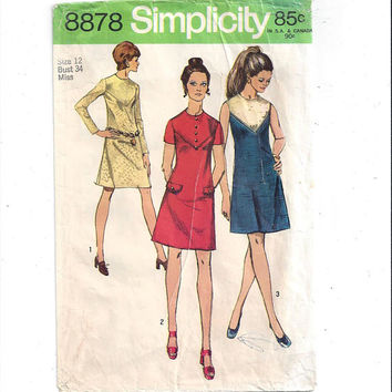 Simplicity 8878 Pattern for Misses' Dress with Front Yoke Details, From 1970, Size 12, Vintage Pattern, Home Sewing Pattern, 1974 Fashion