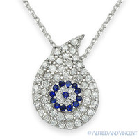 Evil Eye Greek Turkish Nazar Hamsa Water Charm Pendant Sterling Silver Necklace