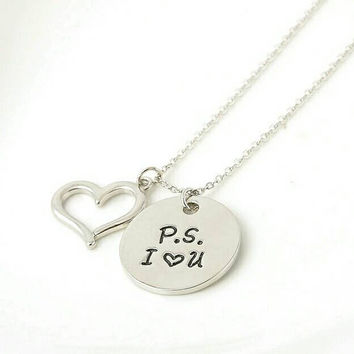 P.S I Love you Necklace - ps I love you - Valentines Day - Gift For Her - Unique Pendant Necklace - I Love You Jewelry