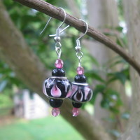 Black and Pink Flame Lampwork Earrings