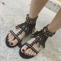 Summer Fashion Women's Shoes - Roman punk black cool  Lace Up Sandals for summer = 4777147396