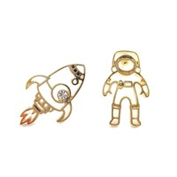 Astronaut and Rocket Outline Shaped Space Themed Stud Earrings in Gold | DOTOLY