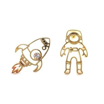 Astronaut and Rocket Outline Shaped Space Themed Stud Earrings in Gold   DOTOLY