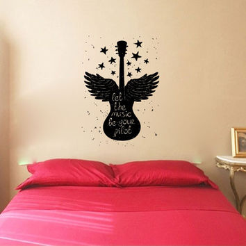 Let The Music Be Your Pilot with Guitar Silhouette Vinyl Wall Decal Sticker Graphic