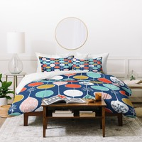 Heather Dutton Snowflake Holiday Bobble Chill Navy Duvet Cover