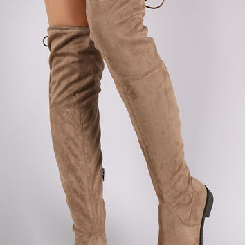 Suede Drawstring Over-The-Knee Riding Boots