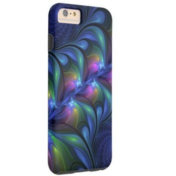 Colorful Luminous Abstract Blue Pink Green Fractal Tough iPhone 6 Plus Case