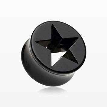A Pair of Hollow Star Double Flared Ear Gauge Plug