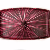 Vintage 1960s Plastic Fuchsia  Color Burst Serving Trays w/Handles-Other Colors Available
