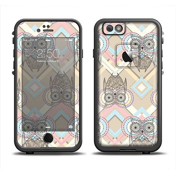 The Vintage Abstract Owl Tan Pattern Apple iPhone 6 LifeProof Fre Case Skin Set