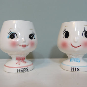 Rare Japanese Egg Cups in His and Hers Cute Kitschy Kitchen
