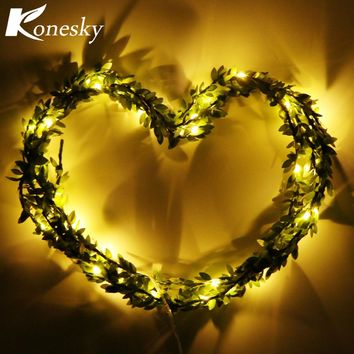 LED Green Leaves Garland Copper Wire String Light Fairy Lights for Glass Craft Bottle Fairy Valentines Wedding Lamp Party Xmas