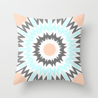 Peach to Baby Blue Throw Pillow by Abstracts by Josrick