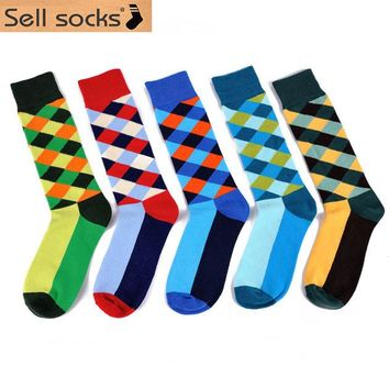 2015 New socks British Style Plaid Socks Gradient Color Men's Cotton argyle Socks High Quality Free Shipping