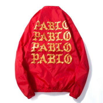 Pabio summer leisure sports back letters print men and women aviator jackets dust coat Red