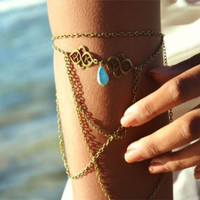 Cupshe Bronze Water-Drop Turquoise Arm Bracelet