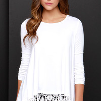 Just Like Vacation Ivory Long Sleeve Top