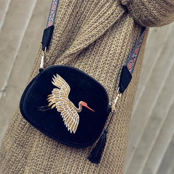 Luxury Handbags Women Bags Designer  velvet Tassel Clutch Bag Hand Embroidery