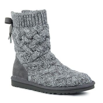 ONETOW UGG' Bow Bandage Knit Warm Snow Boots