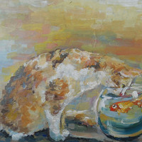 """Cat, Original Oil Painting, Impasto, """"Cat and fish"""", Canvas, Birthday, Gift, Home Decor, Anniversary, Mothers day, Gift for Her, Marriage."""