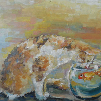 "Cat, Original Oil Painting, Impasto, ""Cat and fish"", Canvas, Birthday, Gift, Home Decor, Anniversary, Mothers day, Gift for Her, Marriage."