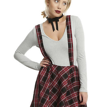 Red & Black Plaid Suspender Skirt