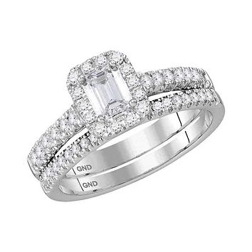 14kt White Gold Women's Emerald Diamond Bridal Wedding Engagement Ring Band Set 1.00 Cttw - FREE Shipping (US/CAN)