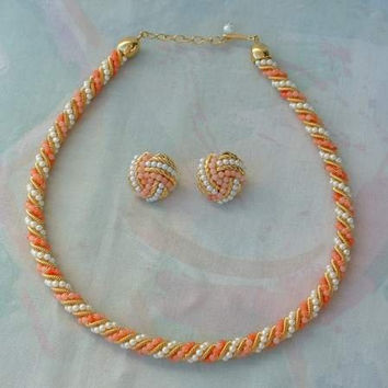 AVON Pink Peach Pearl Braided Necklace Clip Earrings SET Vintage Jewelry