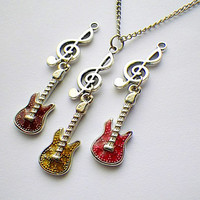 SALE! treble G clef and electric guitar pendant necklace