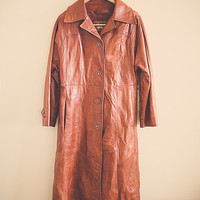 70's Brown Buttery Soft  Leather Coat Jacket  Lined Bohemian Boho Disco Hippie Women's Size Large to Extra Large L XL