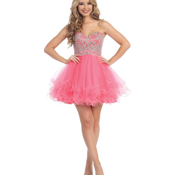 Coral Beaded Strapless Chiffon Short Dress 2015 Homecoming Dresses