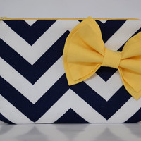 Clutch Accessory Cosmetic Case Pouch Zippered Navy and White Chevron with Yellow Double Bow