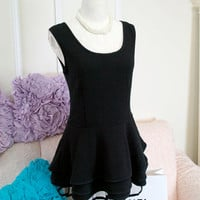 audrey hepburn inspired Little Black Tiered Dress striped pattern Tulle top blouse tutu Gothic