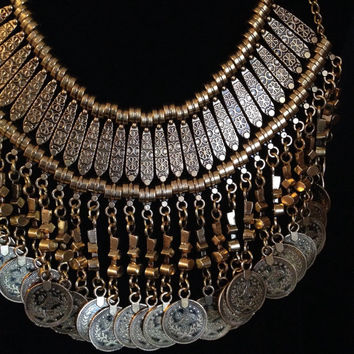 Turkish Bohemian Gyspy Gold Coin Necklace