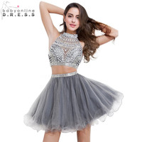 Babyonline Real Photo 2 Piece Short Prom Dresses 2017 Shinny Beaded Crystal Halter Party Dresses Grey Dress For Graduation