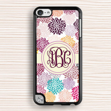 monogram ipod case,vivid flower ipod 4 case,colorful flower ipod touch 4 case,art flower ipod 5 case,peony ipod touch 5 case,gift case,present case,women's gift case,girl's gift case