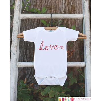 Valentines Day Outfit - Kids Valentine Outfit - Novelty LOVE Valentine Onepiece for Baby Girls or Boys - Kids Valentines Outfit - Red & Pink