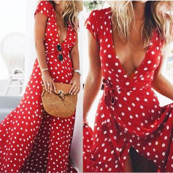 Boho Dress Sexy Maxi Dresses Summer Beach Polka Dot Red Orange Dress Women Deep V-Neck Vintage Robe Floor-Length Long Dresses